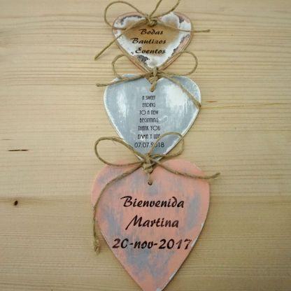 Corazón boda los tres