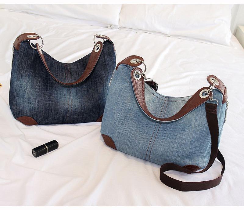 Bolsa Modelo Clássico Em Jeans Com Ferragens E Sintético