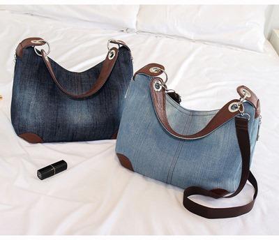 646291fa7 Bolsa modelo clássico em jeans com ferragens e sintético | Arte com ...