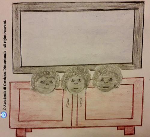 Tre mostriciattoli grigi appaiono davanti alla TV