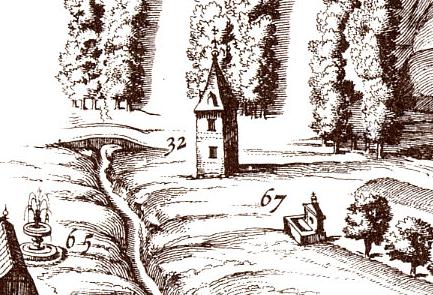 Torrecilla de Música (nº 65) y Fuente del Caño Dorado (nº 67) en el Plano de Texeira.
