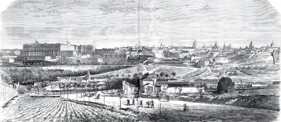 Vista panorámica de la cornisa de Madrid. Año 1865 (Fuente: BNE)