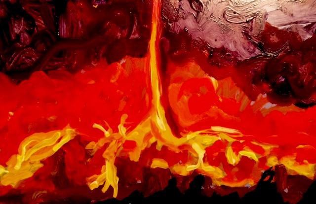 """Firenado, 5""""x8"""", oil, enamel on tin, 2014"""