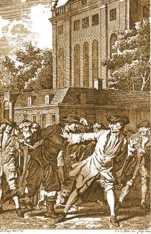 Grabado del ataque a Spinoza