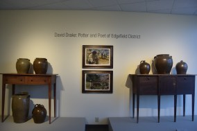 David Drake exhibition with the illustrations of Brian Collier at Greenville County Museum of Art. Photo by Erin K. Hylton 2016.