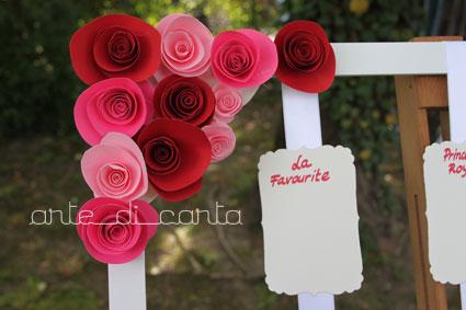 Angolo di piccole rose di carta