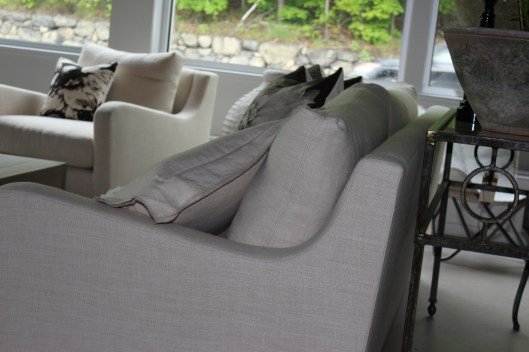 "June Sofa details - curvy, ""perfectly pillowed"", lovely finish work - Fresh!"