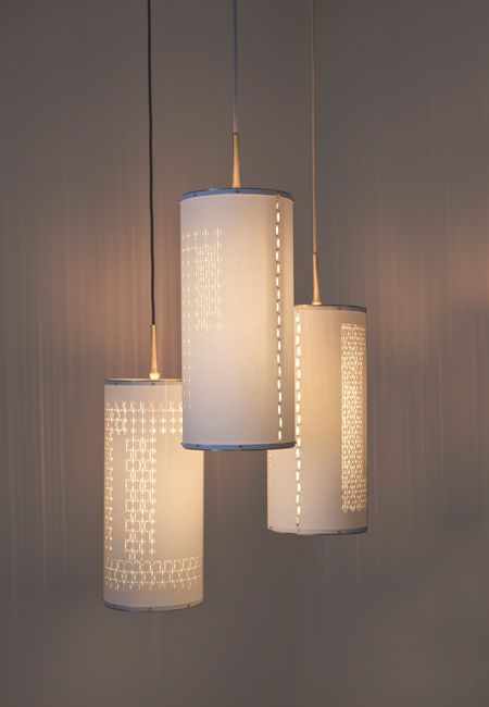 """Laser Cut Cylinder Lights stunning precision cut pendant lights - glorious hardware - choice of cord color - artisan made in the usa 26.5""""h x 9"""" diameter Retail $ 1350.   25% off custom orders placed Nov. 1st + 2nd"""