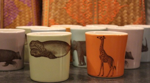 the animals come marching ....amazing asya (a risd grad) makes these mugs - right whales, elephants + hippos, giraffes $ 38.