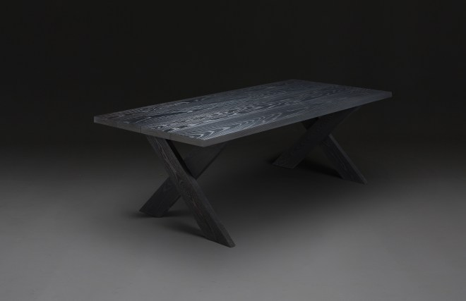 verellen's cross dining table (also available as a coffee table) is classic...what' new is this remarkable charcoal finish - a whole new dimension