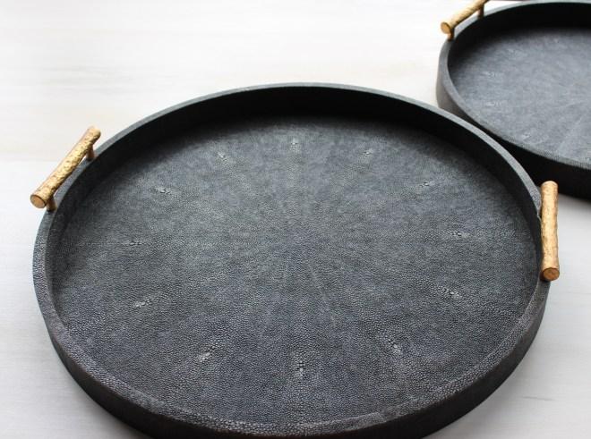 TRAY, round-faux shagreen, dk mushroom w:gold