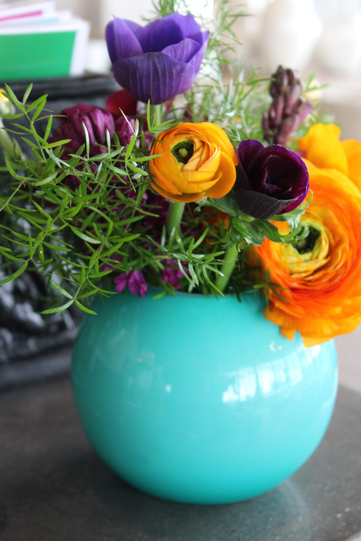 orange + purple in turq vase 1