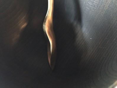 gold hosta spoon black wood bowl