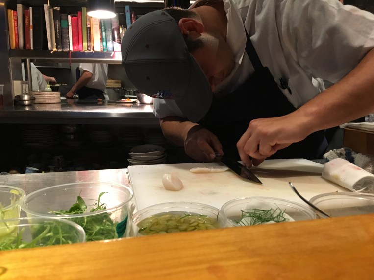 hugos-sam prepping scallop crudo