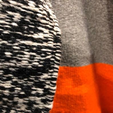 textile-throw rug-black + white-gray + orange@artefacthome