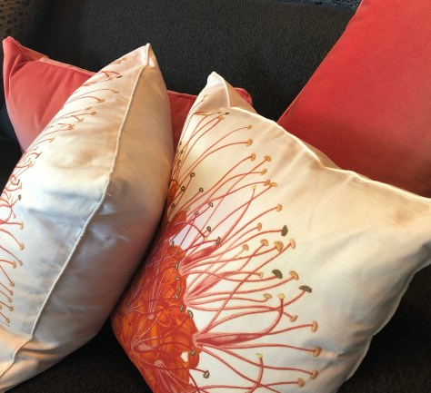 pillow-botanical-linen velvet-coral + red-artefacthome