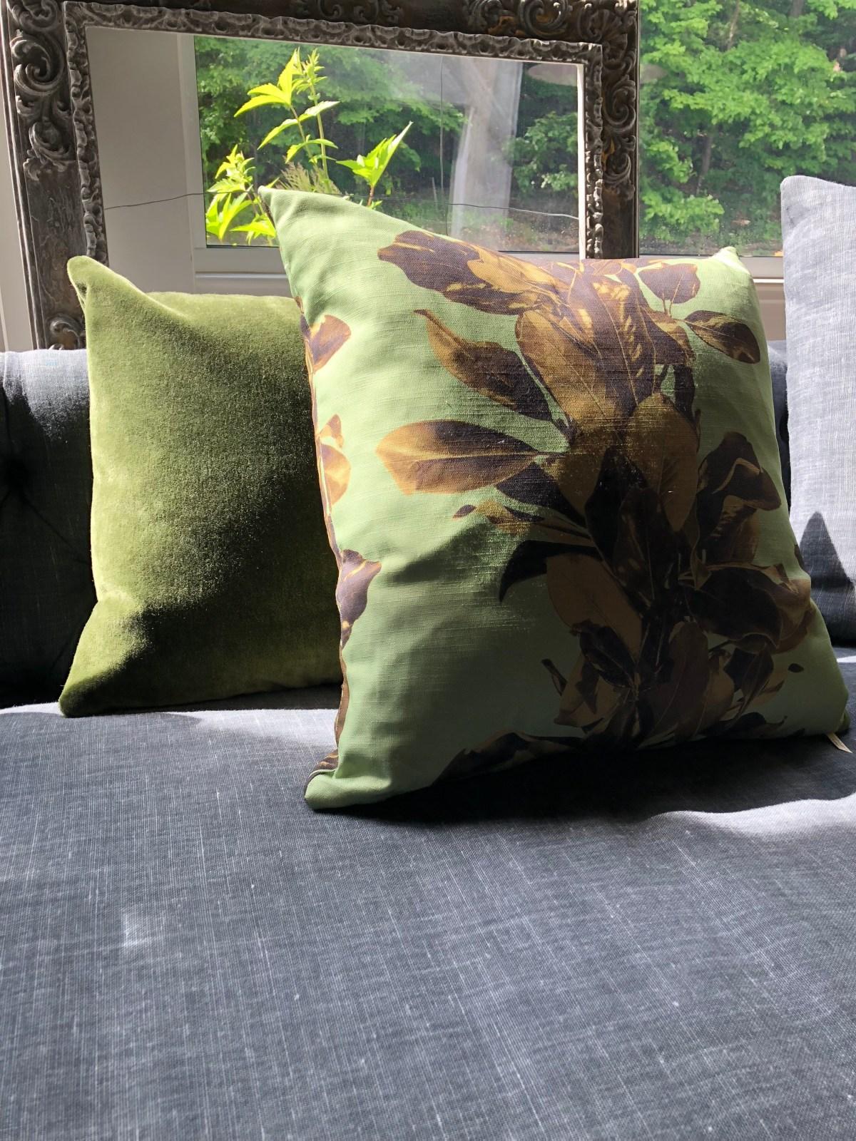 pillow-magnolia on linen-olive mohair velvet 2-artefacthome