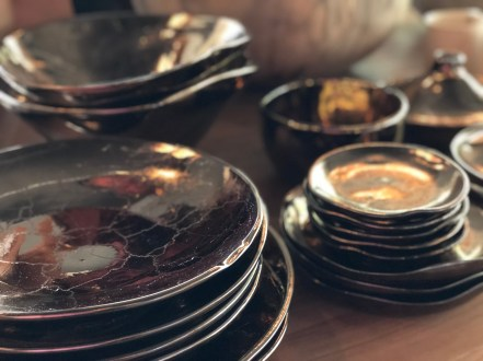 sale table-metallic glaze tableware