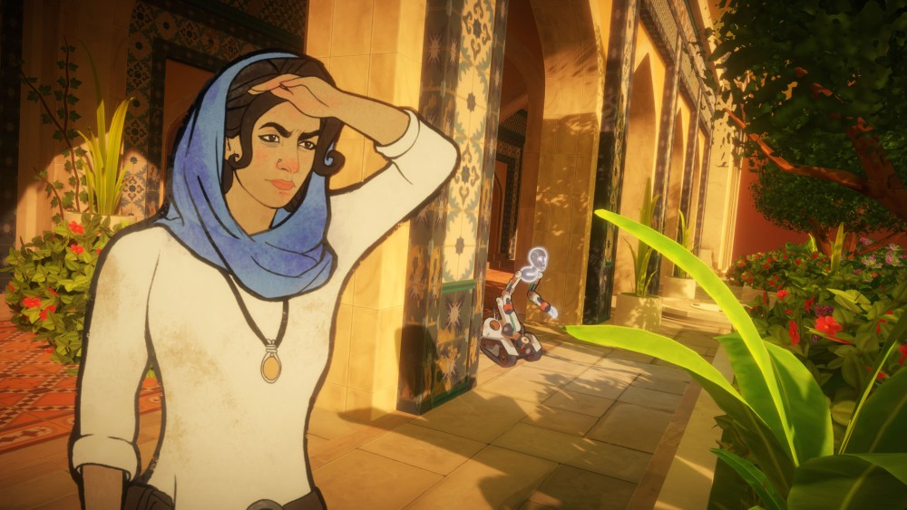 Screenshot of the game Heaven's Vault (inkle studios), showing a positive example of gender roles in videogames.