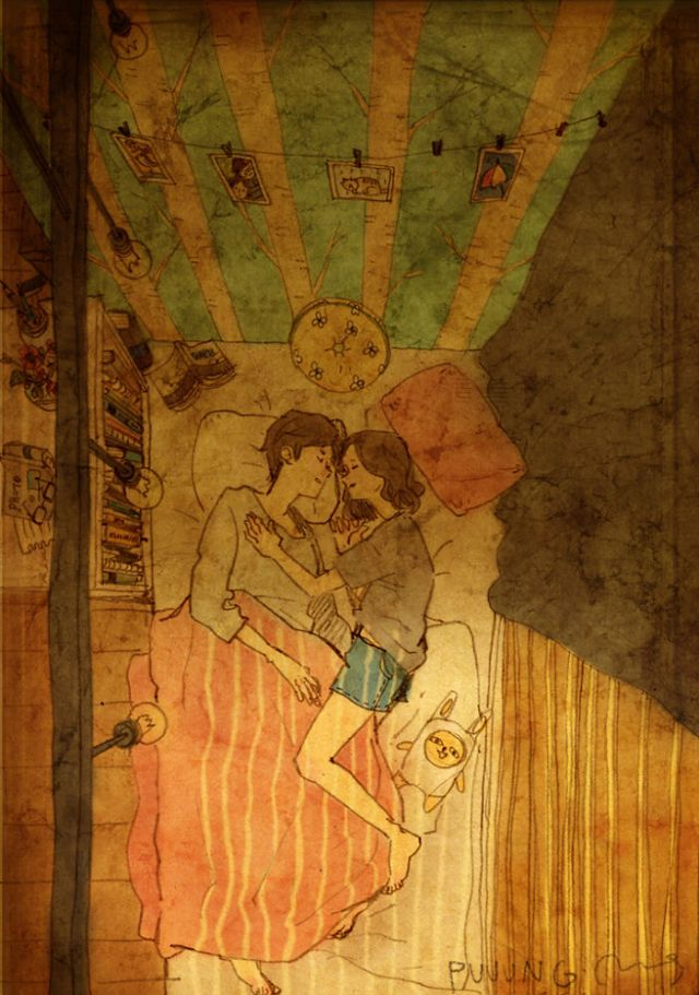 Ilustraciones amor cama de Puuung 11