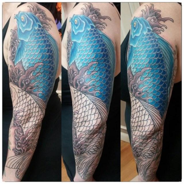 ejemplos tatuajes de peces estilo oriental 3