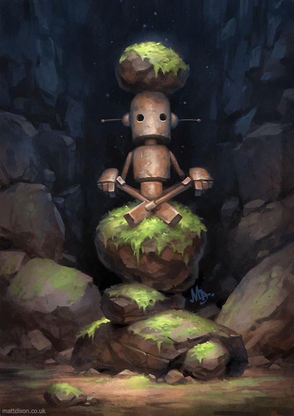 solitaria-vida-robot-ilustraciones-matt-dixon 4