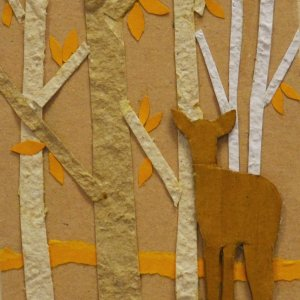 Quadretto piccolo cervo nel bosco