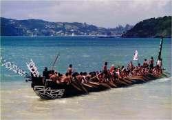 A large Maori 'waka taua' (war canoe).