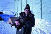 At Scott Base with a sled-dog pup.