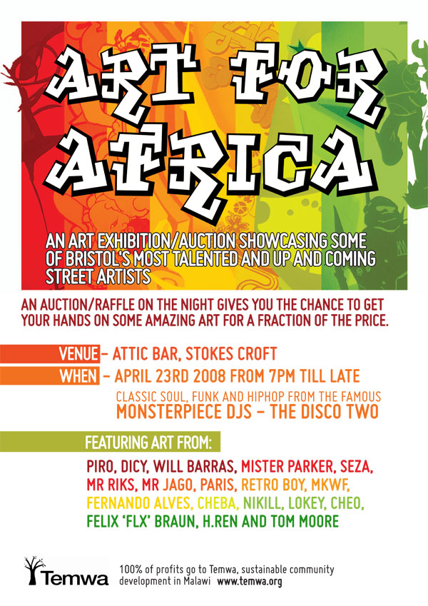 Art For Africa event flyer.