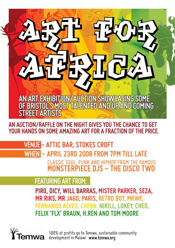 Art For Africa event flyer.