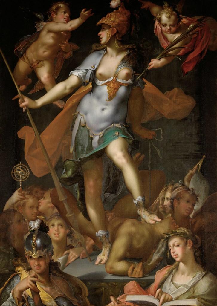 Bartholomäus Spranger, Minerva als Siegerin über die Unwissenheit, um 1591