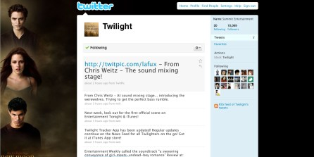 TWILIGHT ( SUMMITT) A SON TWITTER OFFICIEL