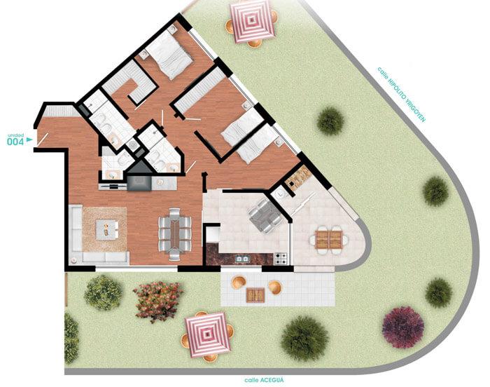 Horizonte Agua Plano 3 Dormitorios con Jardín