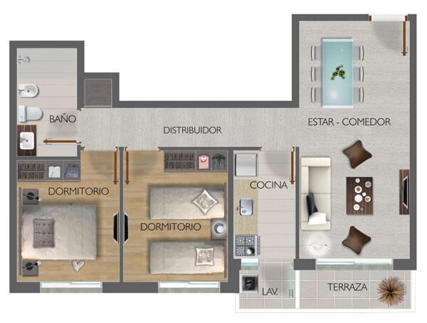 Town Park Unidad Plano 2 dormitorios 105b