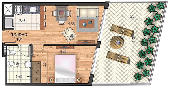 marina 21 1 dormitorio patio