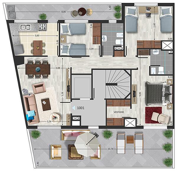 3 dormitorios en pocitos marina marti penthouse