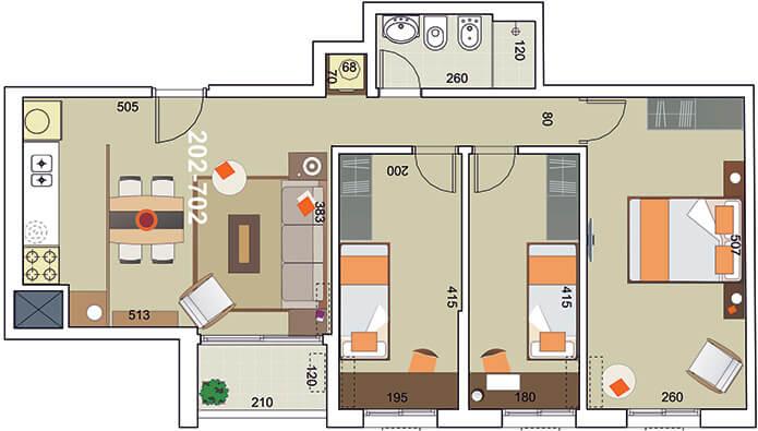 torre modelo 3 dormitorios