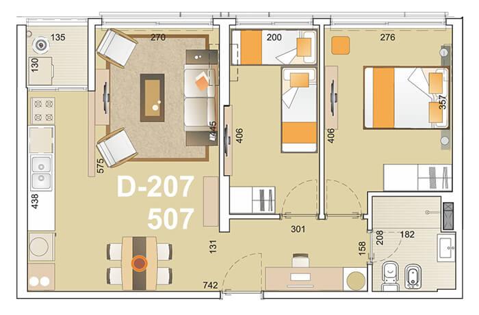 E-Tower Sky 2 dormitorios tipologia 07