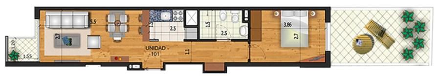 Marina 26 II 1 dormitorio patio