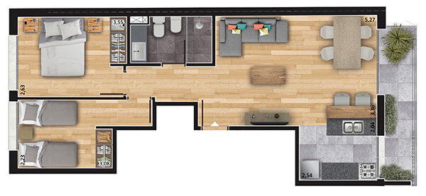 espacio soho 2 dormitorios 301 a 701