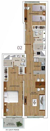 Edificio IN Ponce - Plano 2 dormitorios unidad 02