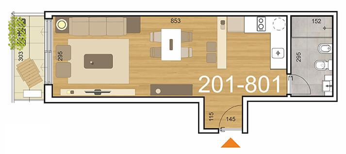Plano Initium 1 ambiente 201 a 801