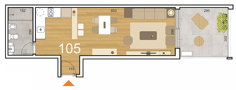 Initium 1 ambiente con patio 105