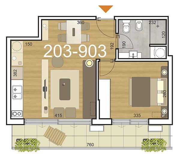 Initium Plano 1 dormitorio 203-903
