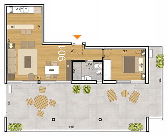 Initium Plano 1 dormitorio penthouse 901