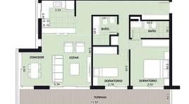 Pocitos: todo al frente, con 2 baños y 13 m2 de Terraza