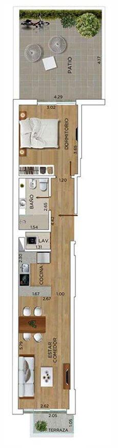 In Ponce - Plano 1 dormitorio Unidad 101h