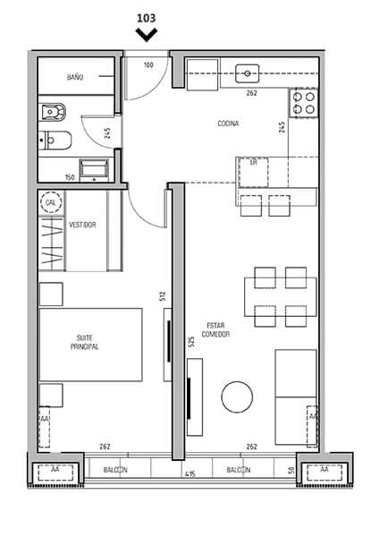 More Echevarriarza - Plano 1 dormitorio Unidad 103