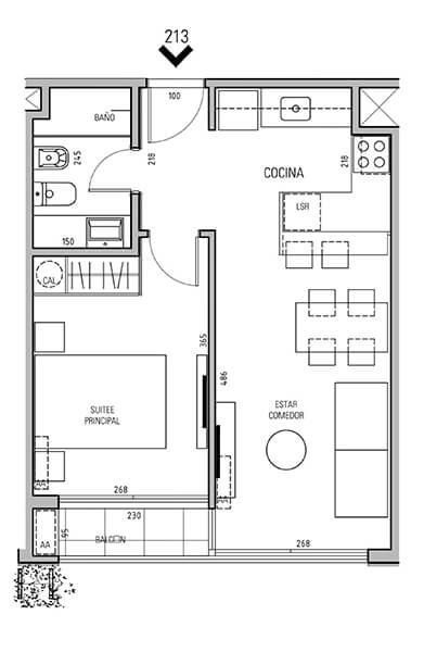More Echevarriarza - Plano 1 dormitorio Unidad 213